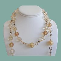 Elegant Long Vintage Necklace Gold Foil Glass Beads Bronze Crystals