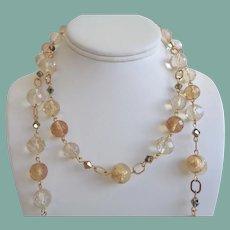 Elegant Long Vintage Necklace Gold Foil Glass Beads Bronze Crystals