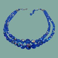 Exceptional Vintage Cobalt Blue Crystal Set AB Aurora Borealis Double Strand Necklace Earrings