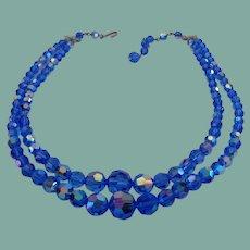 Exceptional Vintage Cobalt Blue Crystal Set AB Aurora Borealis Double Strand Necklace Earrings