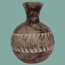 Vintage Native American Navajo Linez Pottery Vase Horse Hair Etching