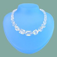 Art Deco Sterling Cube Shape Crystal Necklace Strung on Sterling Silver Chain