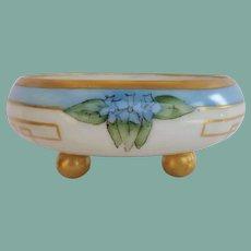 Antique 1900's German Art Deco Hand Painted Porcelain Footed Bowl Dish Violets Gold Gilt Versatile