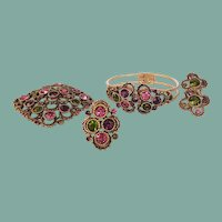 Vintage Sarah Coventry Austrian Lites Full Parure Set Ring Bracelet Brooch Earrings