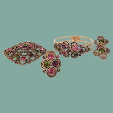 Vintage Sarah Coventry Austrian Lites Full Parure Set Ring Bracelet Brooch Earrings