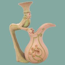 Rare Antique Schafer & Vater Mad Hatter Figural Creamer Alice in Wonderland Porcelain Bisque Germany