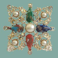 Vintage Sarah Coventry Galaxy Maltese CROSS Brooch Pendant Colorful Faux Agates Rhinestones
