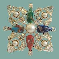 Vintage Sarah Coventry Galaxy Maltese CROSS Brooch Pendant Colorful Faux Agates Rhinestones