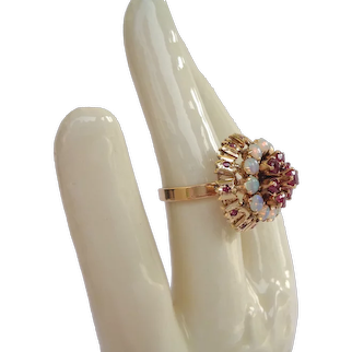 Runway 18kt Gold Opal Ruby Cocktail Ring Showcasing Pyramid Architectural