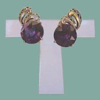 Vintage 1952 HOLLYCRAFT Earrings Large Amethyst Rhinestone Antiqued Gold Tone Signed