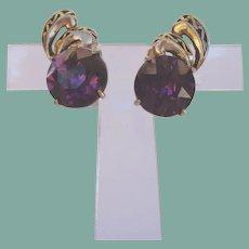 Vintage 1952 HOLLYCRAFT Earrings Large Amethyst Rhinestone Antiqued Gold Tone Signed