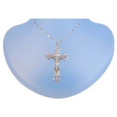 Vintage Signed Chapel Sterling Silver Cross Crucifix Pendant Art Nouveau Design