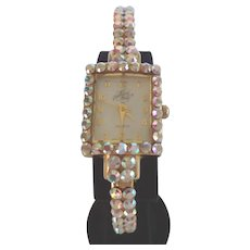 Fabulous Vintage Kirks Folly AB Rhinestone Clamper Wrist Watch Signed Like New