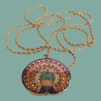 Vintage Trifari Cloisonné Peacock Pendant Necklace Signed
