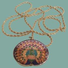 Vintage Trifari Cloisonné Peacock Pendant Necklace Signed
