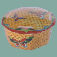 Japanese Takahashi Cloisonné Trinket Vanity Box Butterflies Hand Painted Original Labels
