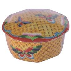 Japanese Takahashi Cloisonné Trinket Vanity Box Butterflies Hand Painted Original Labels