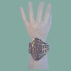 Large Exemplary Antique Arabic Persian Silver Buckle Cuff Bracelet Farsi