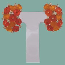 Vintage Earrings Icy Cool Puffy Peach Hearts Tangerine Flowers Lucite Jelly Climber