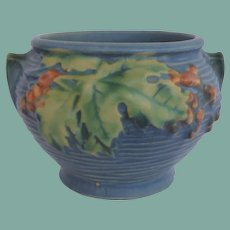 Vintage Roseville Small Vase Jardinière Blue Oak Leaves Berries Signed 657-3