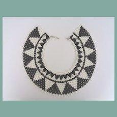 Exceptional Vintage Art Deco Style Choker Collar Bib Necklace Black White Geometric Glass Beads