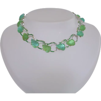Exquisite STAR Vintage Green and Blue Glowing Leaves Necklace Signed