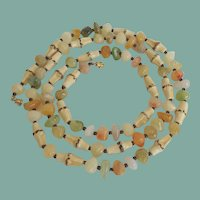 Unique Vintage Molded Plastic Bamboo Necklace Faux Agates