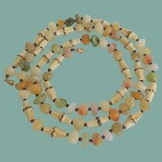 Unique Vintage Molded Plastic Bamboo Necklace Faux Agates