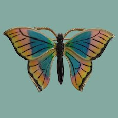 Vintage Butterfly Brooch Vibrant Blue Turquoise Peach Yellow Black Enamels Gold