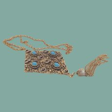 Incredible Unique Huge Vintage Pendant Necklace Medieval Etruscan Style Blue Glass Cabochons