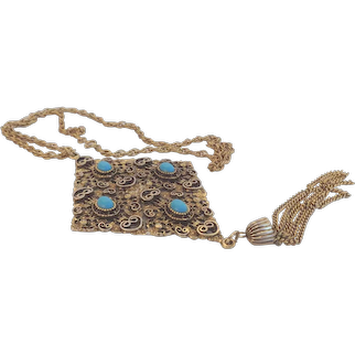 Incredible Unique Huge Vintage Pendant Necklace Medieval Etruscan Style Blue Glass Cabochons