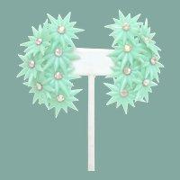 Icy Mint Vintage 2 .25 Climber Flower Earrings AB Rhinestones Ear Huggers