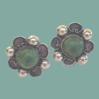 Vintage 1930's Mexican Jade Sterling Silver Earrings Screw Back