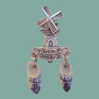 Vintage Holland Dutch Brooch Delft China Shoe Charms Mechanical Windmill Souvenir