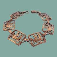 Vintage Reindeer Forest Filigree Bracelet Signed