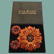 Vintage NIB Joan Rivers Spectacular Set Metallic Orange Chrysanthemum Rhinestones