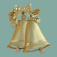 Gorgeous Vintage Christmas Holiday Brooch Golden Satin Bells Rhinestones