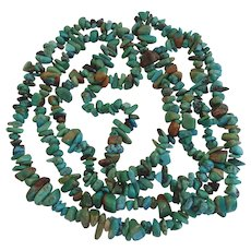 Vintage Native American Continuous Long Natural Turquoise Nugget Necklace Green Blue And More