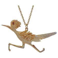 Vintage Large Road Runner Necklace Textured Gold Red Rhinestone Eye