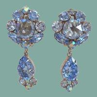 Glamourous Juliana Vintage Dangle Earrings Sapphire Blue Rivoli Rhinestones