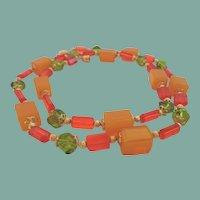 Vintage Art Glass Necklace Crystals Hyacinth Topaz Olivine Gold Tone