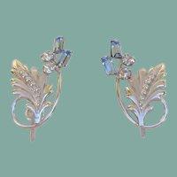 Exquisite Vintage Carl-Art Sterling Silver Earrings Sapphire Baguettes Floral