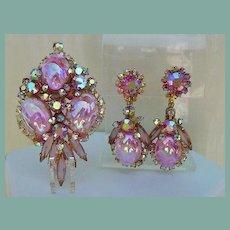 Vintage Juliana D&E Set Pink Glass Easter Egg Cabochons Brooch Earrings