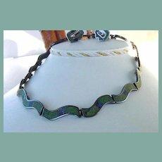 Vintage LOS CASTILLOS Mexican Set Art Deco Style Choker Necklace & Earrings Mosaic Inlay Lapis Turquoise Malachite Mosaico Azteca Signed