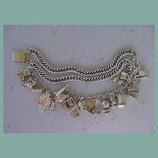 1940's Triple Link Charm Bracelet 19 CHARMS Sterling Silver Many Mechanical