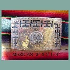 Vintage Spectacular Belt Buckle Mexican Mayan Design Sterling Silver Signed