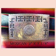 Vintage Spectacular Belt Buckle Mexican Mayan Design Sterling Silver Signed