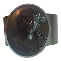 ANTIQUE Victorian Mourning Cameo Vulcanite Bracelet