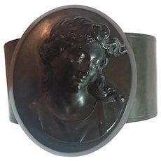 ANTIQUE Victorian Mourning Cameo Vulcanite Bracelet