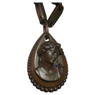 ANTIQUE Victorian Mourning Vulcanite Cameo Teardrop necklace